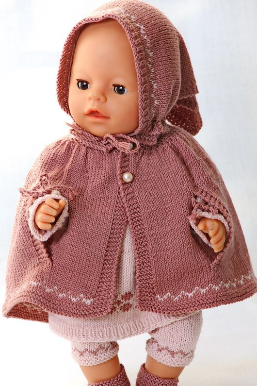 Knit a great tunic in purple and pink to your doll