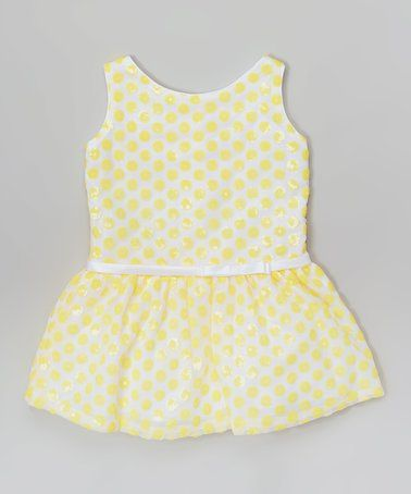 30acf8fe4f Another great find on  zulily! Yellow Polka Dot Sequin Drop-Waist Dress -