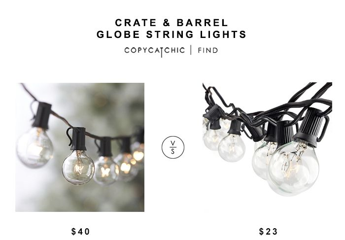 Crate and Barrel Globe String Lights for $40 vs Globe String Lights for $23 copycatchic luxe living for less budget home decor and design look for less