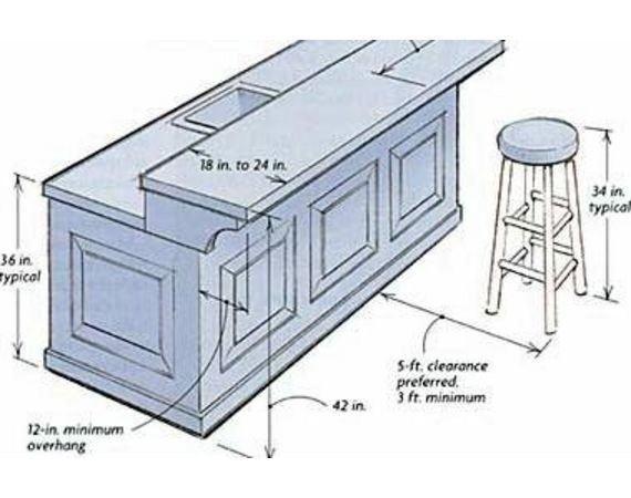 breakfast bar dimensions design - Google Search