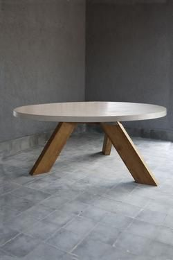 Round Outdoor Concrete Table W Reclaimed Teak V Style Base Living