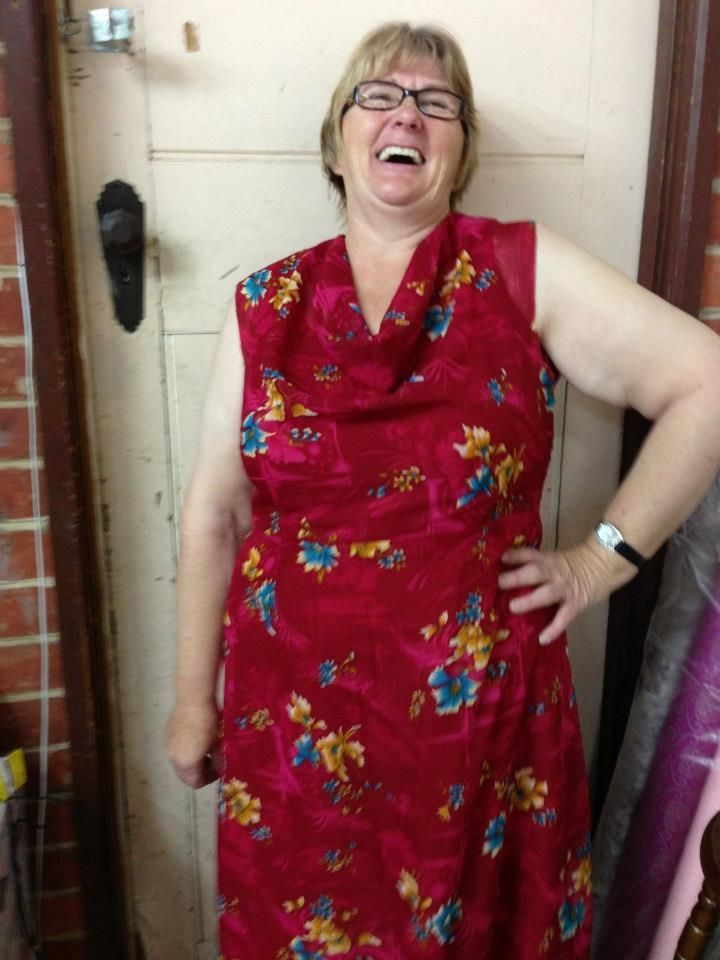 Another happy customer! Well done Helen. First attempt at making a cowl neck dress.