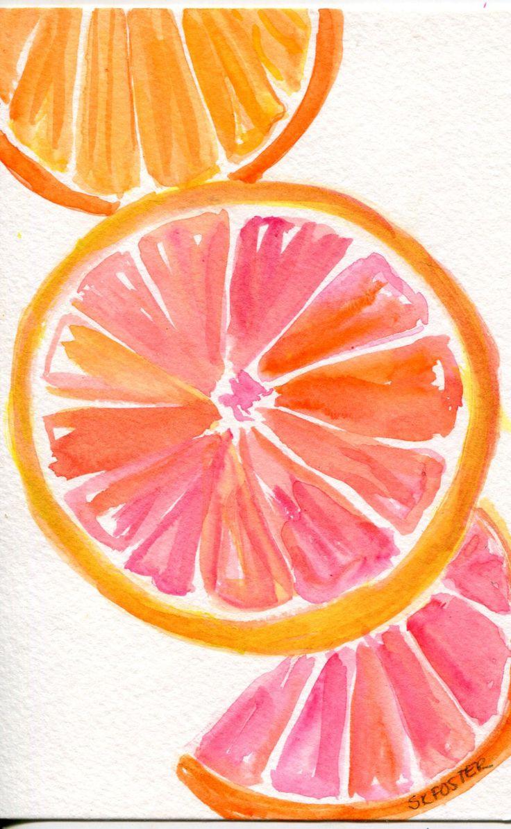 Cute Fruit Wallpaper Grapefruit Orange Watercolor Painting Original Citrus
