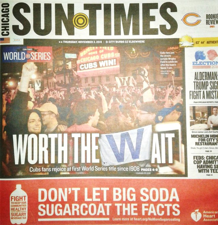 """Cubs Win World Series!! Chicago Sun Times 11/3/16 """"A Night To Remember""""  108yrs"""