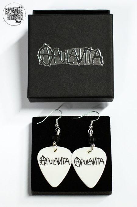 White plectrum earrings - Apulanta. Designed and made by Jaana Bragge.