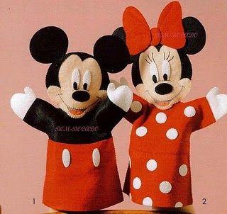 Ei Menina!: Moldes, Mickey & Minnie felt puppets