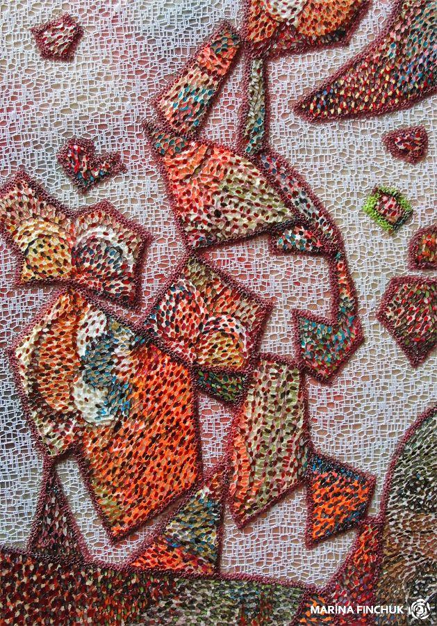 "Панно в технике выжигание по ткани ""Начало всего. Эффект тетриса"". Марина Финчук (The beginning of everything. The Tetris effect). Hot textile. Maryna Finchuk"