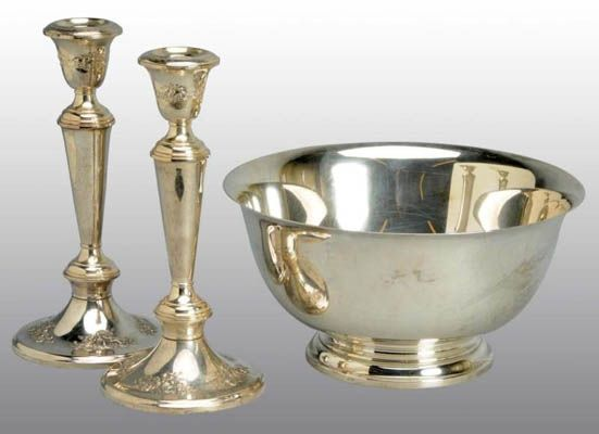 Antique Silver Price Guide: Gorham Revere Silver Bowl & Candlesticks