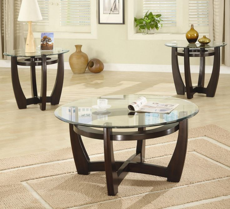 Coffee Table And End Table Sets For Cheap Part - 15: Round Glass Coffee Table Sets