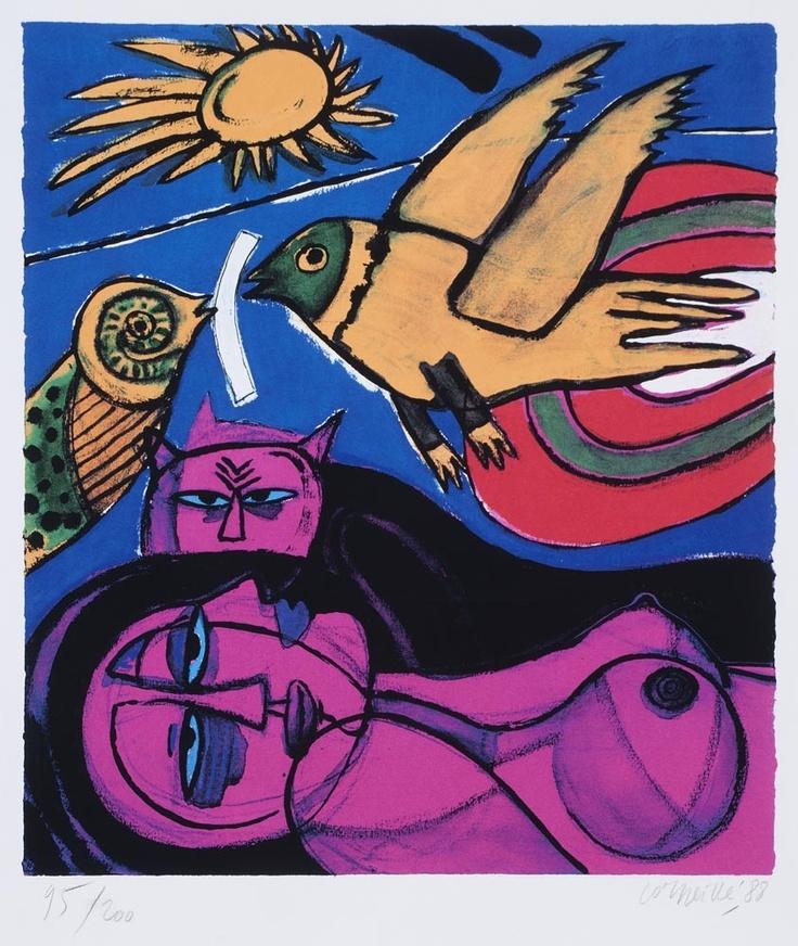 Femme avec chat | lithograph,1988 | Corneille