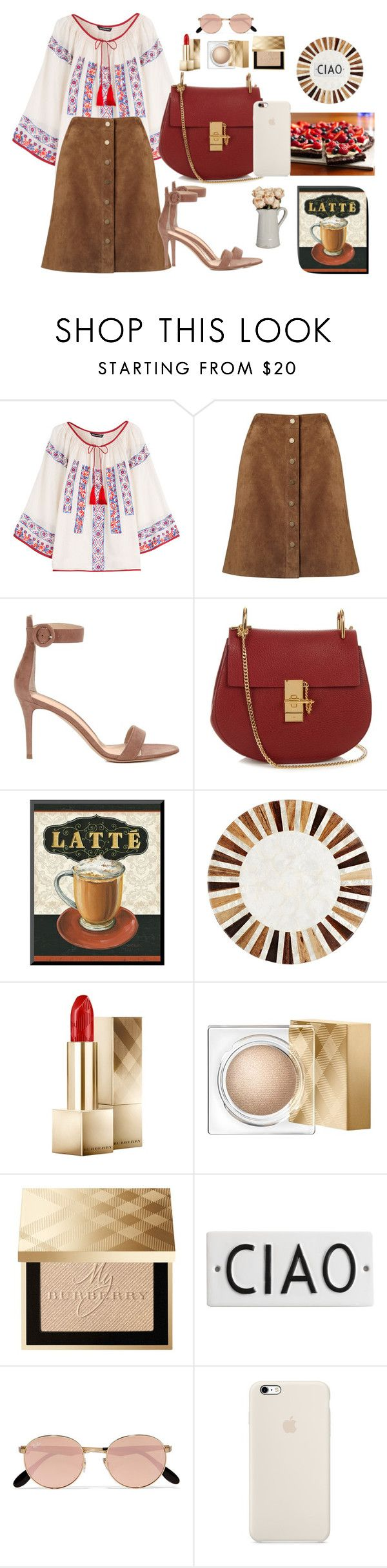 """""""Ciao"""" by austencatherine ❤ liked on Polyvore featuring KAS New York, Phase Eight, Gianvito Rossi, Chloé, Deborah Rhodes, Burberry, Rosanna and Ray-Ban"""