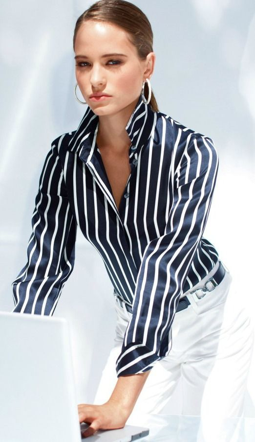Navy blue stripe silk and white slacks (dark background on the shirt