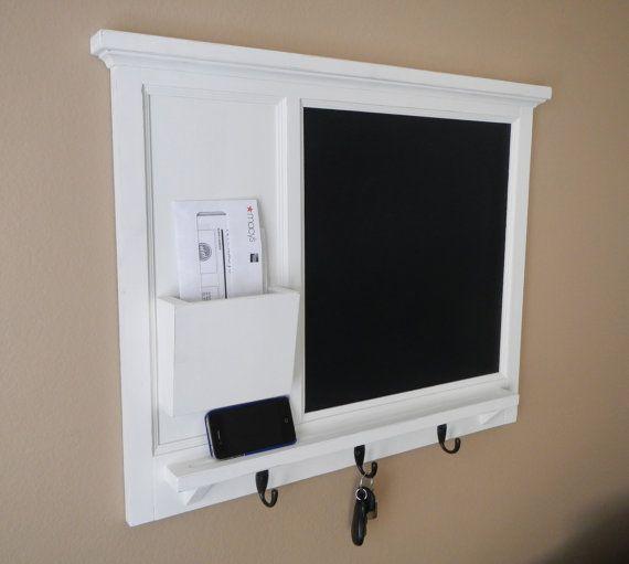 Chalk Board Mail Organizer letter holder  Key / Coat / Hat rack - lightly distressed shabby chic - Home Decor