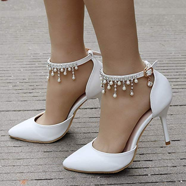 4a12f9a5a7041 Amazon.com | Dress First Pointed Toe Pumps High Heel Ankle Strap ...