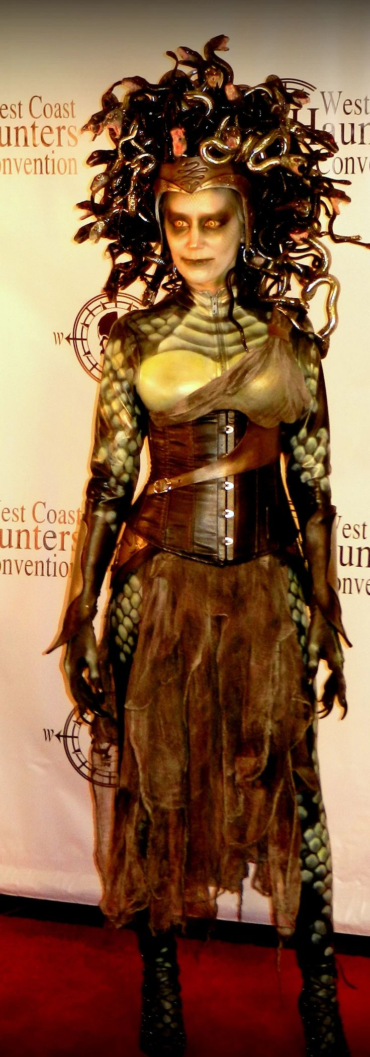 "I found this on deadspidersweb.com. It depicts a ""Do It Yourself"" modern take on a Medusa Halloween costume. I found this interesting to see the different materials Angie Hill use to recreate this look. I thought it was very innovative and obviously a lot of time had been put into this costume. She even carved the snake heads out of the material she used for the headpiece. Overall, I thought it was fascinating how ancient mythology is still very present in every day life."