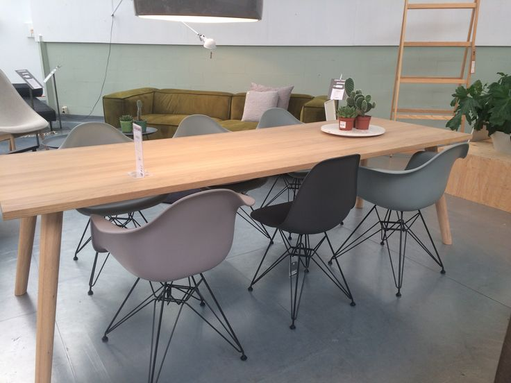 Eames Chairs in colours Mauve Grey, Basalt and Moss Grey.