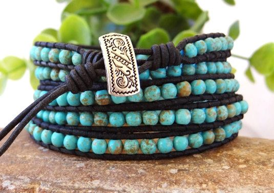Black Bracelet,Turquoise Bracelet,Leather Bracelet,Wrap Bracelet,Beaded Bracelet,Turquoise Jewelry,Boho Bracelet,Mens Bracelet,Leather Wrap.