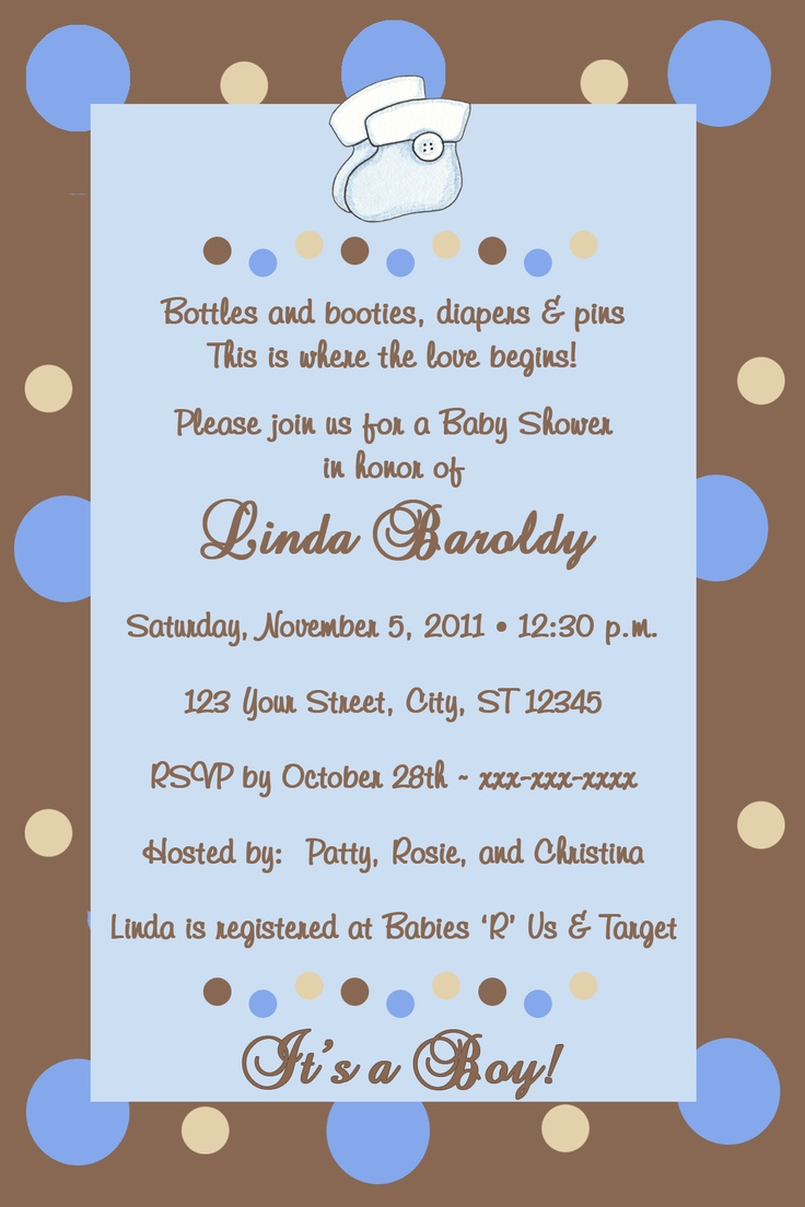 inspirational baby shower invitation wording%0A Chocolate and Blue Bottles and Booties Baby Shower Invitations