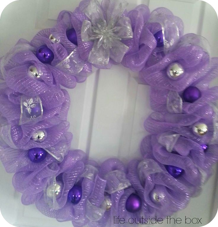 A beautiful 24 inch purple deco mesh wreath! I love this one!