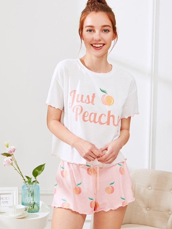 767cc8b7bf Fruit Print Lettuce Edge Tee And Shorts PJ Set -SheIn(Sheinside ...