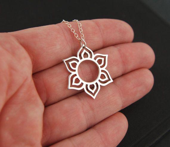 Round lotus flower pendant necklace in sterling silver, lotus petal, flower necklace, sterling silver lotus