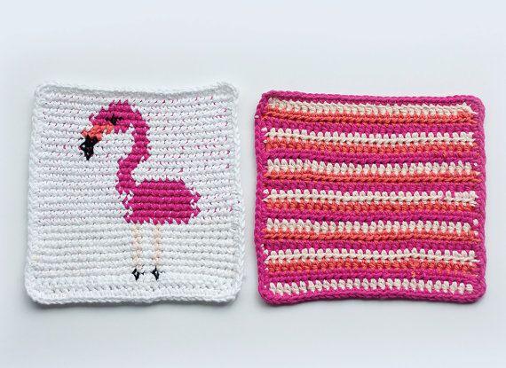 Flamingo Dishcloth + Potholder set | Purl & Co. on #Etsy