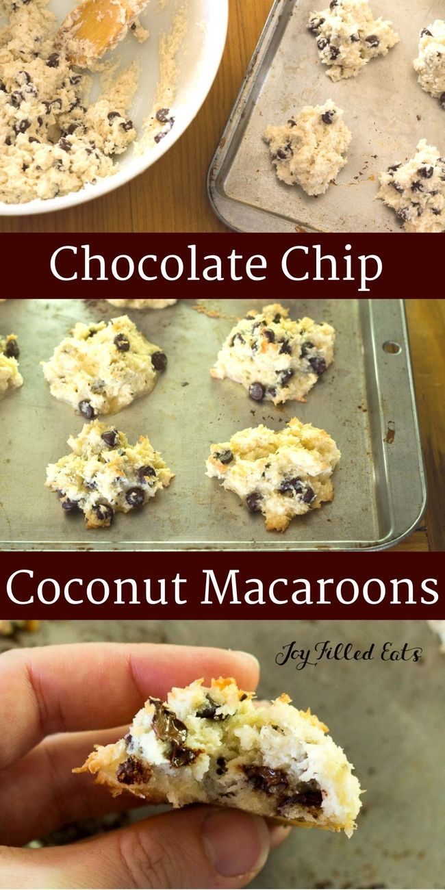 Chocolate Chip Coconut Macaroons. Dairy/Grain/Sugar Free. Low Carb. THM S. These can be your new go to easy baked good. Five minutes to mix and scoop. Thirty minutes to bake. Done.  via @joyfilledeats