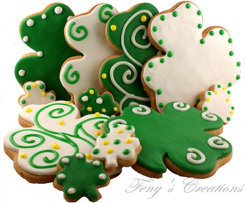 Cute decorating ideas on these shamrock cookies. Going to have to break out our cookie cutters this year!
