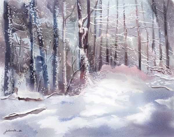 """Snow Sparkled Woods"" - Digital Watercolour, in Snowy Landscapes"