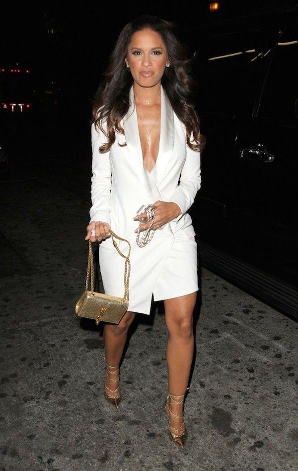 3 Rocsi Diaz vs. Selita Ebanks in Haute Hippie's White Tuxedo Wrap Dress