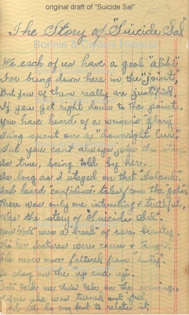 Bonnie of Bonnie and Clyde wrote poems in a little bank book when she was in jail - here are Bonnie Parker's poems