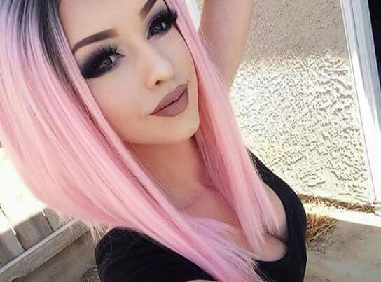 Beautiful Girl With Pretty,PINK Hair Colour And Fiercely Beautiful Make-up.Lord,She Is So Unique And Very Pretty!