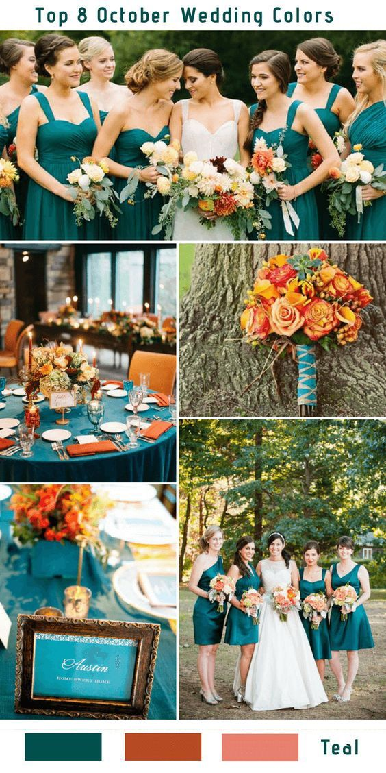 Top 9 Fall Wedding Color Schemes for 2019—teal blue and