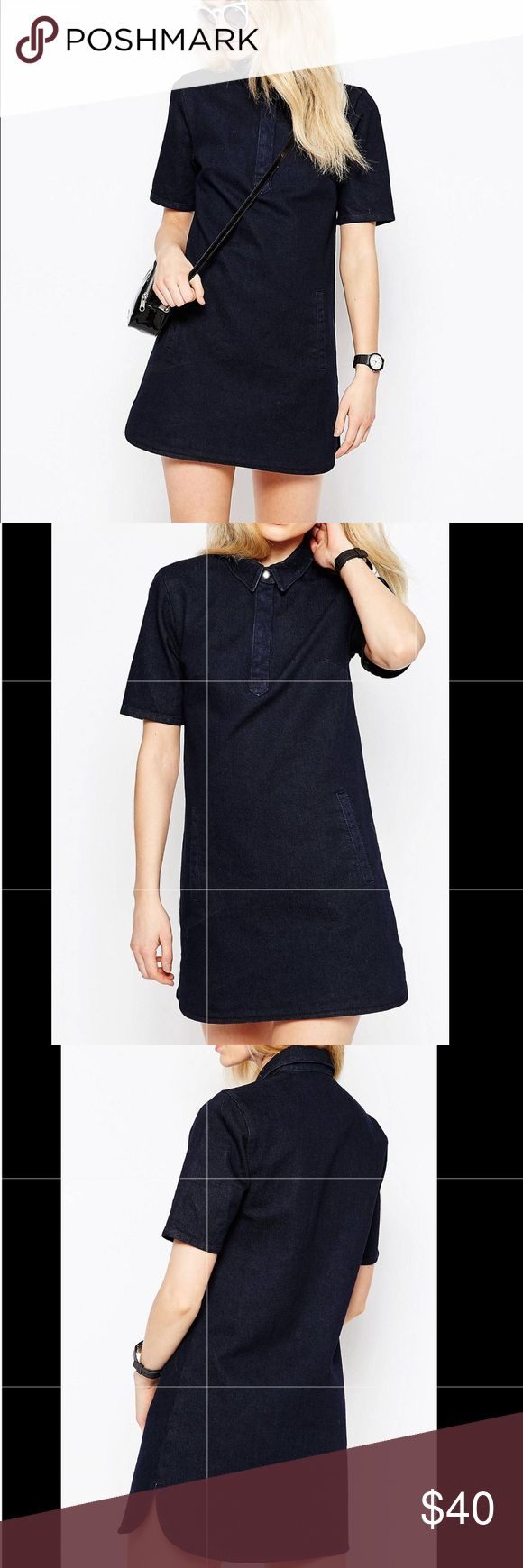 Asos Petite Denim Shirt Dress With Curved Hem SZ 4 Worn ONCE excellent condition! Petite dress by ASOS PETITE Non-stretch denim Point collar Concealed button placket Twin front pockets Curved hem Regular fit - true to size Machine wash 100% Cotton Our model wears a UK 8/EU 36/US 4 ASOS Petite Dresses Mini