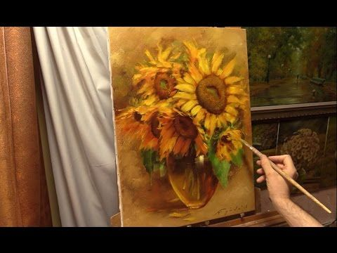 ▶ Янтарные подсолнухи. Amber sunflowers. Alla Prima. Process of creating oil painting from Oleg Buiko. - YouTube