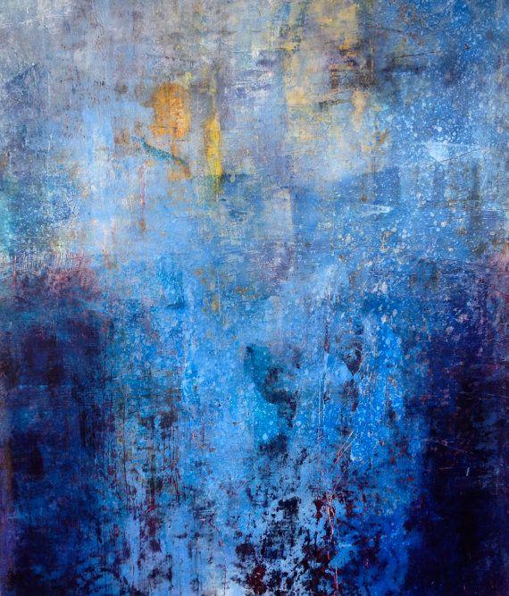 original huile et cire peinture abstraite dans nombreuses nuances de bleus, blanc et jaune, 24 « x 20 »