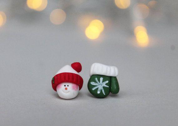 Christmas Earrings  Snowmen Earrings  Snowmen and Mitten