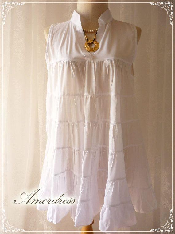 SALE Pure White Boho Blouse Top Pure White Cotton by Amordress, $31.05