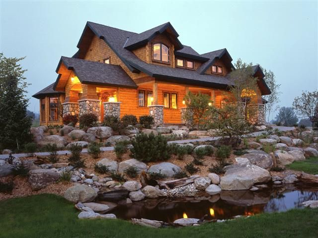 Beautiful Log Homes Landscaping Front Entrance Pictures Entire Front