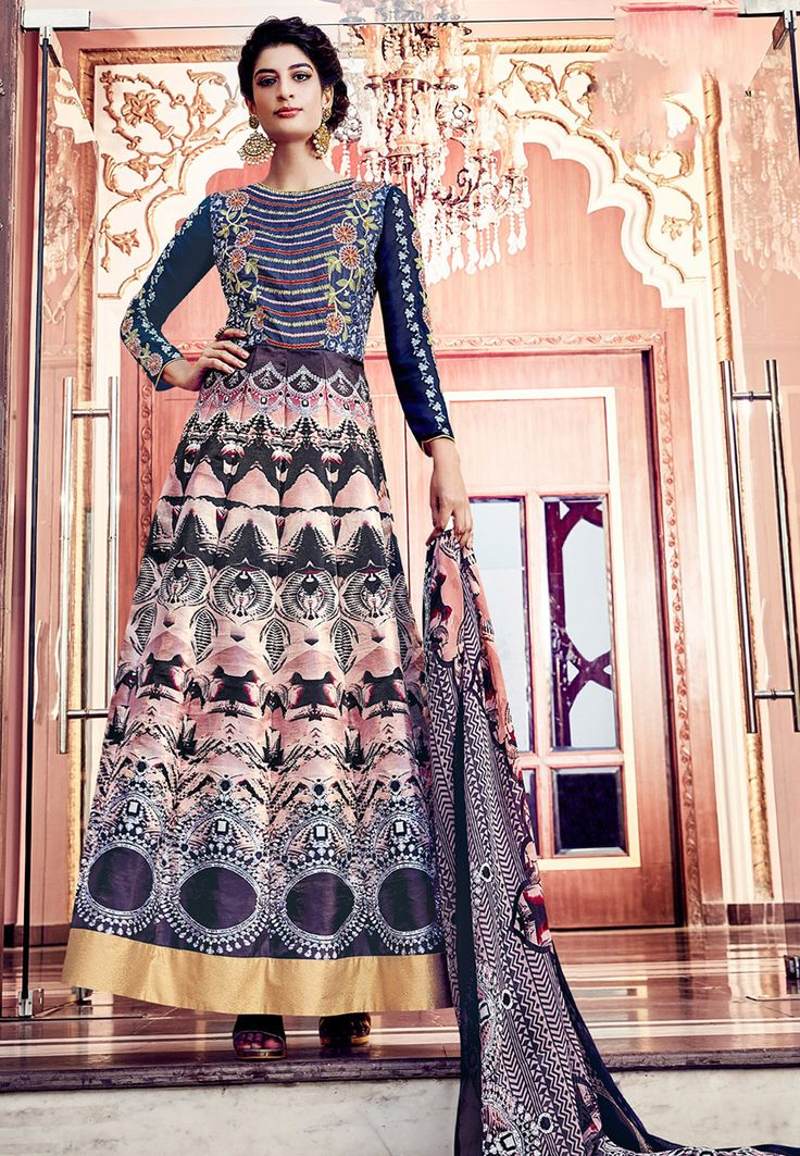 Buy Digital Printed Art Silk Abaya Style Suit in Multicolor and Navy Blue online, work: Printed, color: Multicolor / Navy Blue, usage: Party, category: Salwar Kameez, fabric: Art Silk, price: $74.45, item code: KEJ565, gender: women, brand: Utsav
