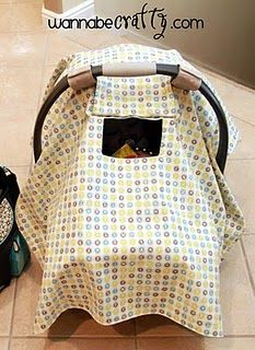 Car seat cover with window. I enjoy the fact I can check inside without lifting the entire cover. This particular DIY is also very in-depth.