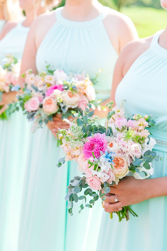 Soft Mint Bridesmaid Dresses With Bright Pink And Orange Florals