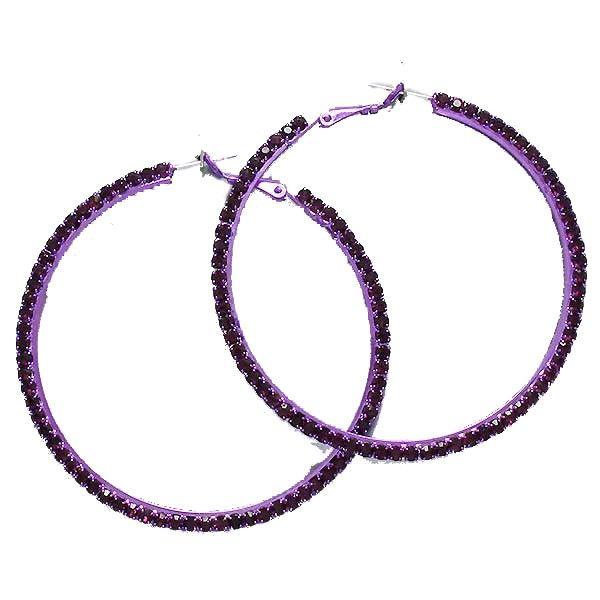 Purple diamante hoop earrings available from WWW.GlitzyGlamour.co.uk