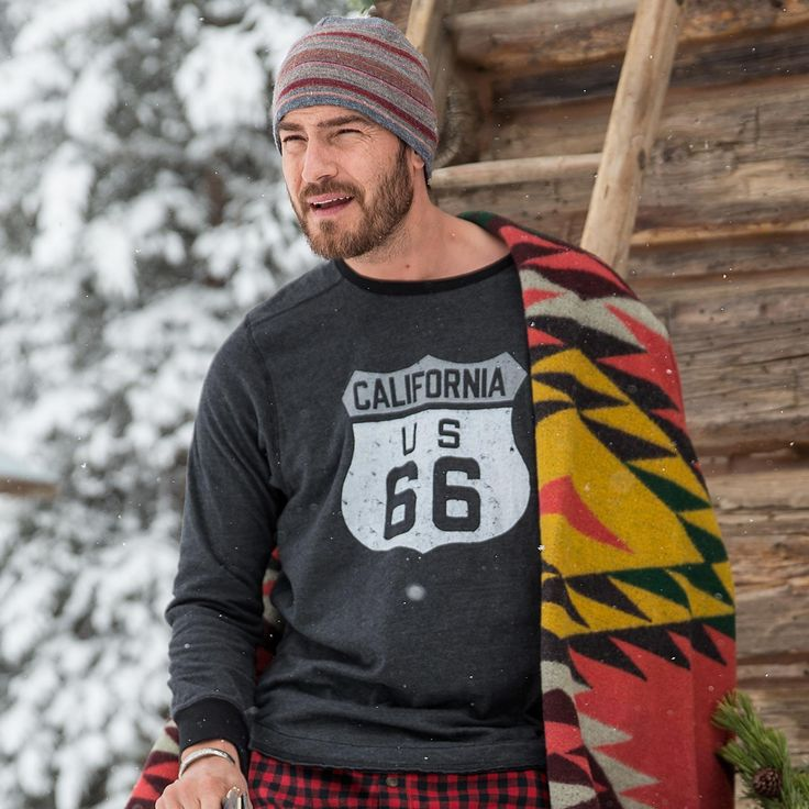 US 66 LONG-SLEEVE TEE--An iconic symbol of an iconic route in vintage-inspired, super-soft double cloth. Route 66 graphic long-sleeve tee with raw-edge seaming. Cotton/polyester. Machine wash. USA. Catalog exclusive. Sizes S (34 to 36),  M (38 to 40), L (42 to 44), XL (46 to 48), XXL (50 to 52).