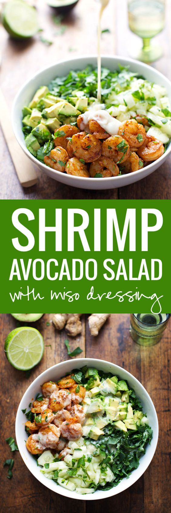 This Spicy Shrimp and Avocado Salad has cucumbers, baby kale, shrimp, and avocado with a creamy miso dressing. SO YUMMAY.   pinchofyum.com