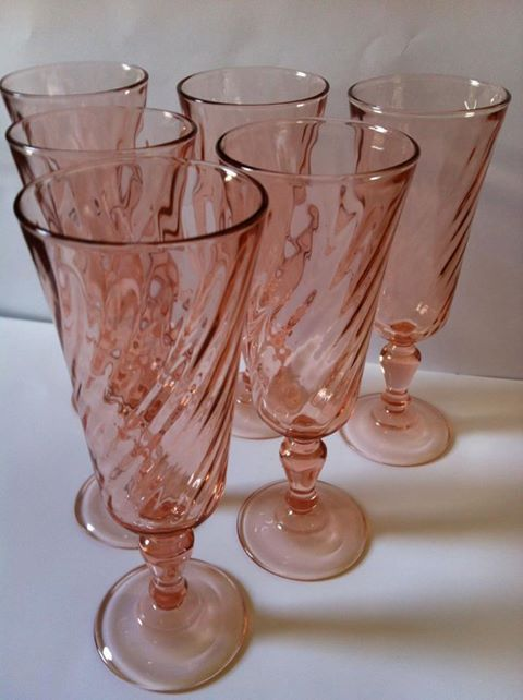Pink Fostoria Swirl Tea / Wine Glasses
