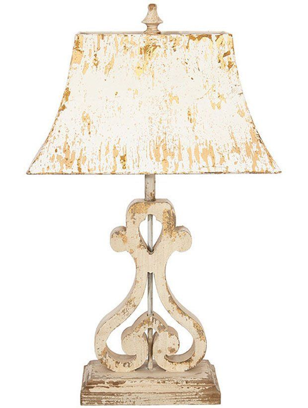 Distressed Wood Table Lamp With Metal Shade Rustic Goodes Table