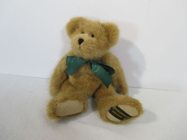 Boyds Bear Plush Teddy Bean Commemorative Tan Brown Green Ribbon Vtg Retired #Boyds #AllOccasion