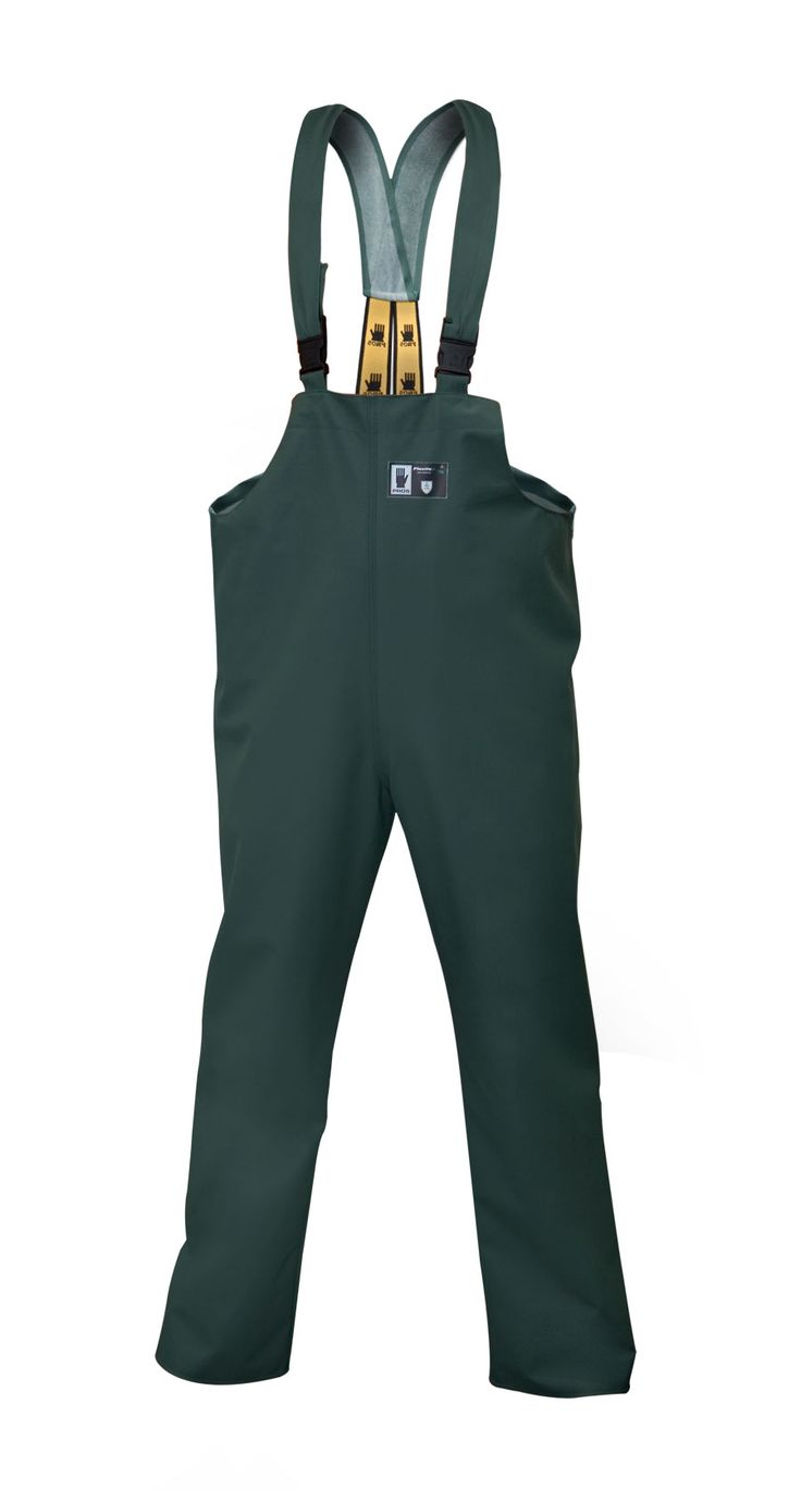 WATERPROOF ANTISTATIC BIBPANTS Model: 001/A The model is made of PVC/polyester antistatic fabric called Plavitex Antistatic. The bibpants have adjustable elasticated braces. Seams are double welded high frequency. The bibpants fully protect against rain and wind and it's recommended to be used at potentially explosive zones where there is a lot of gas and vapors of methane. The product conforms with the EN ISO 13688, EN 343 and EN 1149-5 standards.