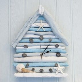 Driftwood Beach Hut Clock by Driftwood Dreaming
